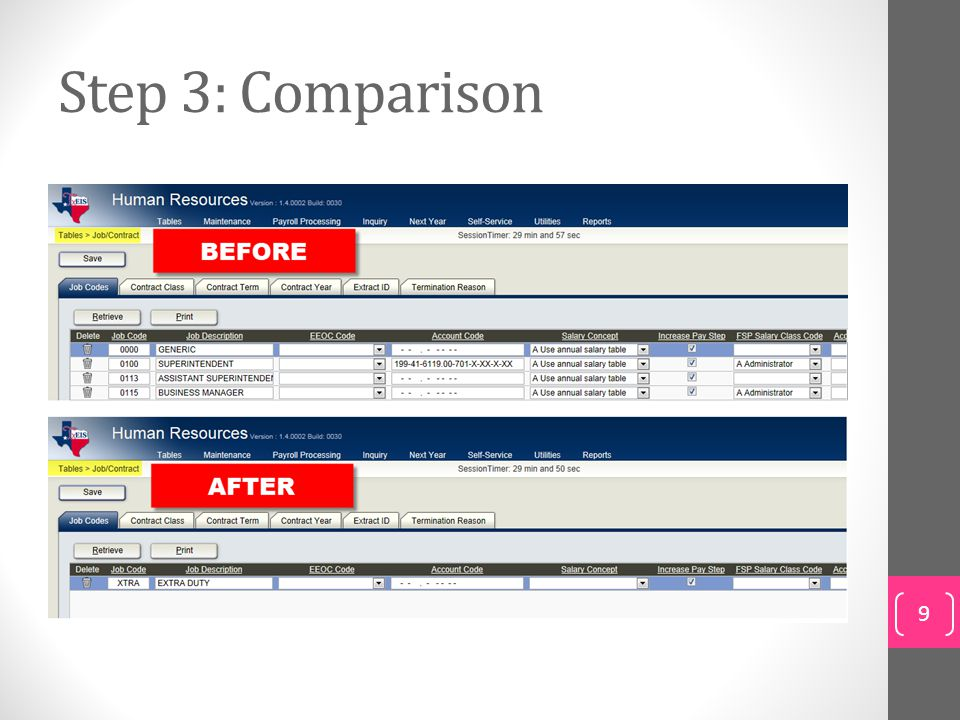 Step 3: Comparison