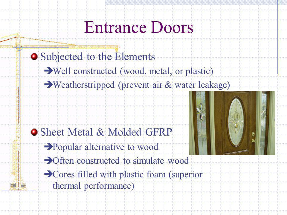 Entrance Doors Subjected to the Elements Sheet Metal & Molded GFRP