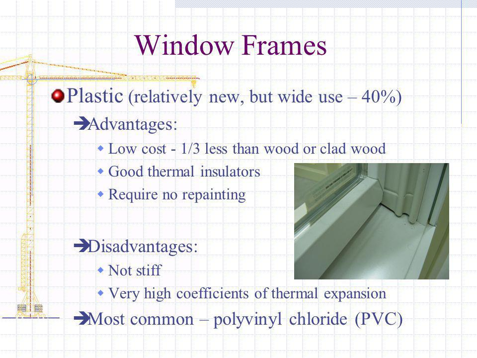 Window Frames Plastic (relatively new, but wide use – 40%) Advantages: