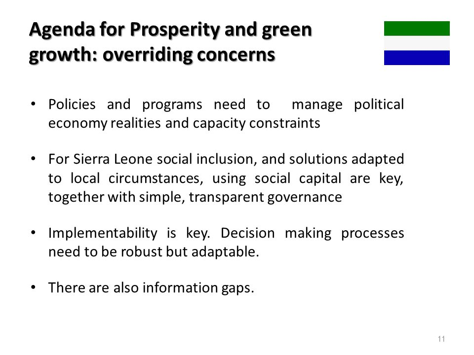 Agenda for Prosperity and green growth: overriding concerns