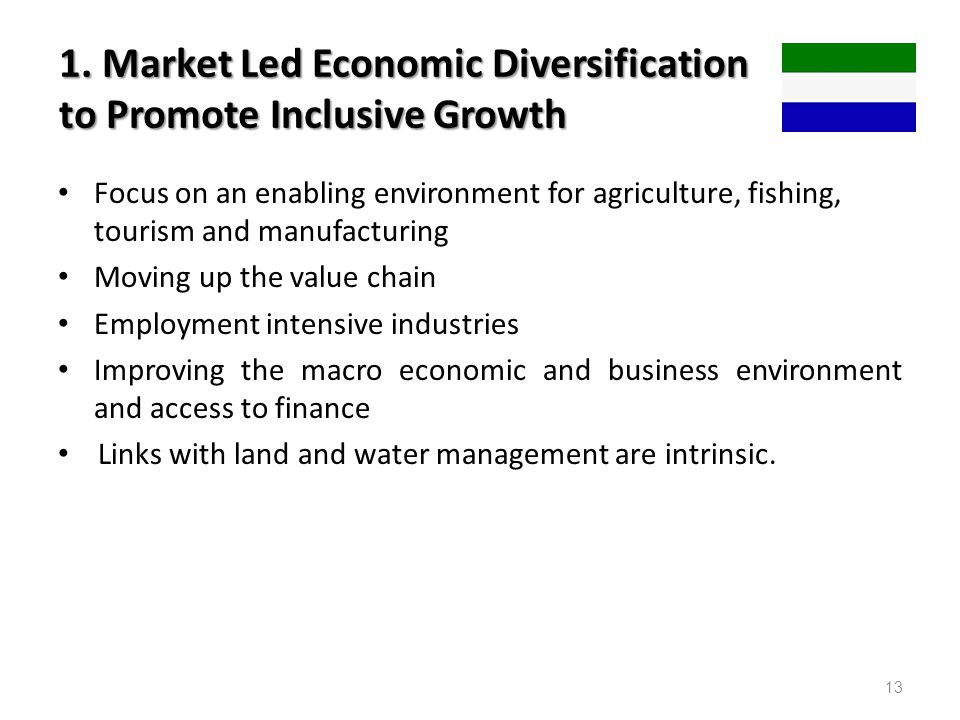 1. Market Led Economic Diversification to Promote Inclusive Growth