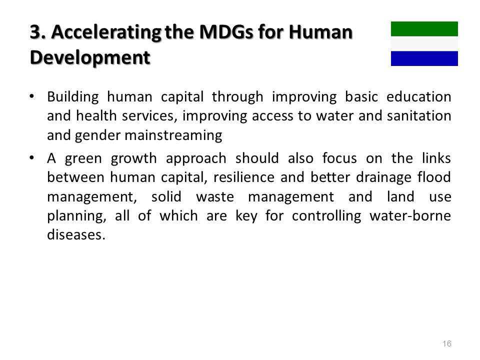 3. Accelerating the MDGs for Human Development