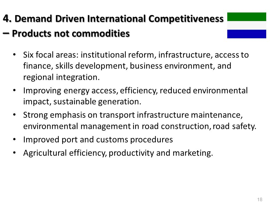 4. Demand Driven International Competitiveness – Products not commodities