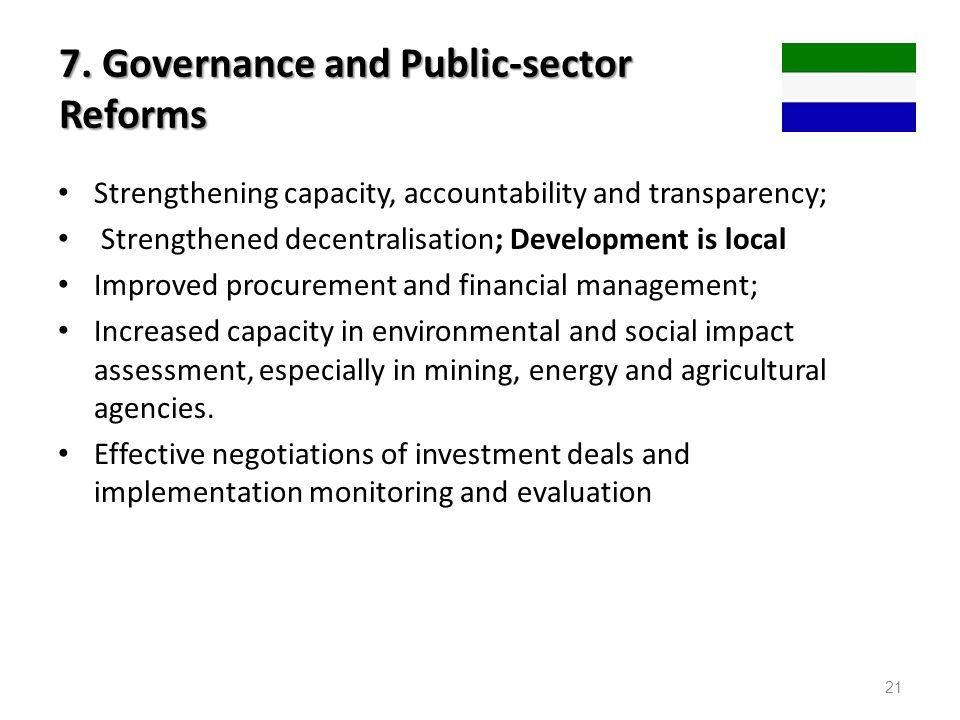 7. Governance and Public-sector Reforms