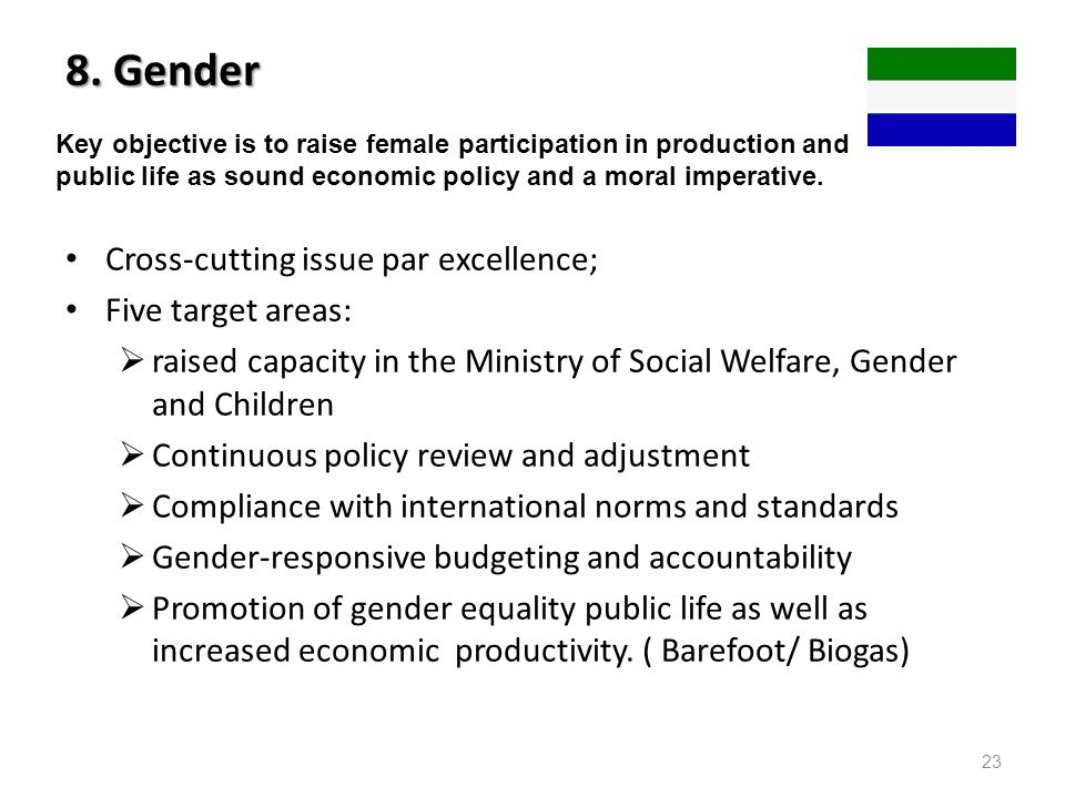 8. Gender Cross-cutting issue par excellence; Five target areas: