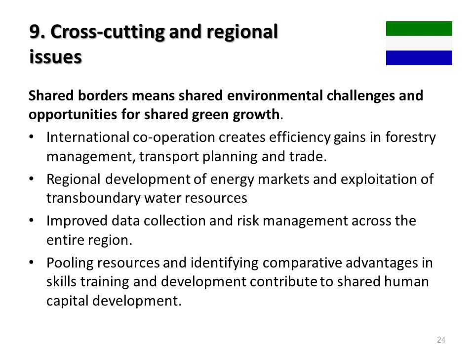 9. Cross-cutting and regional issues