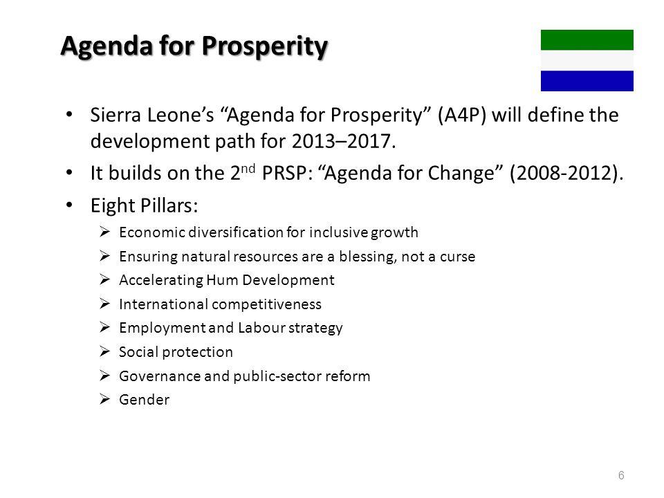 Agenda for Prosperity Sierra Leone's Agenda for Prosperity (A4P) will define the development path for 2013–2017.