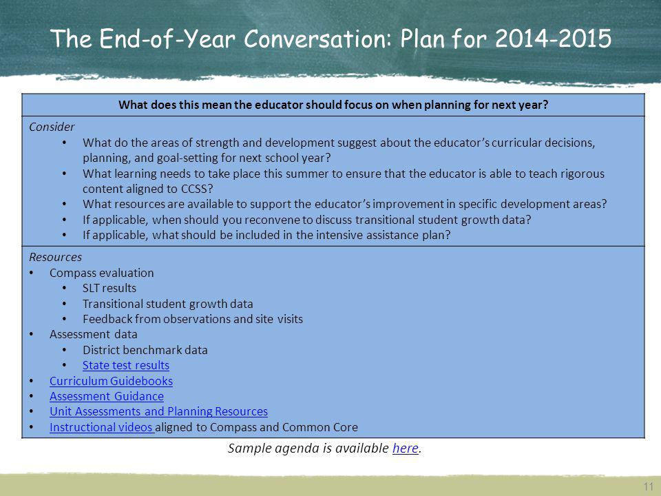 The End-of-Year Conversation: Plan for 2014-2015