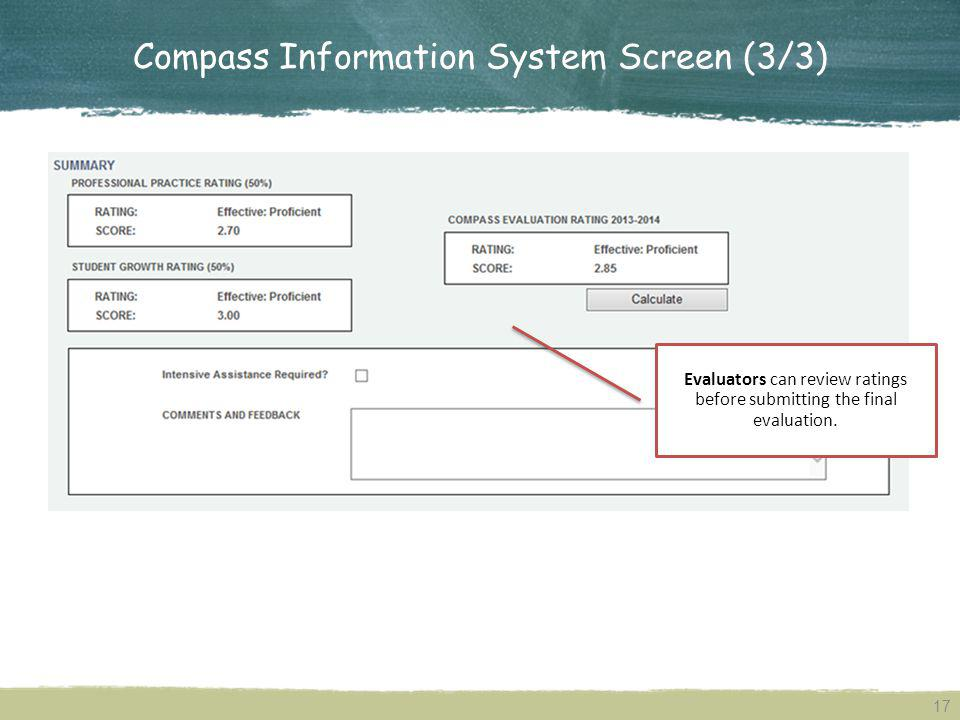 Compass Information System Screen (3/3)