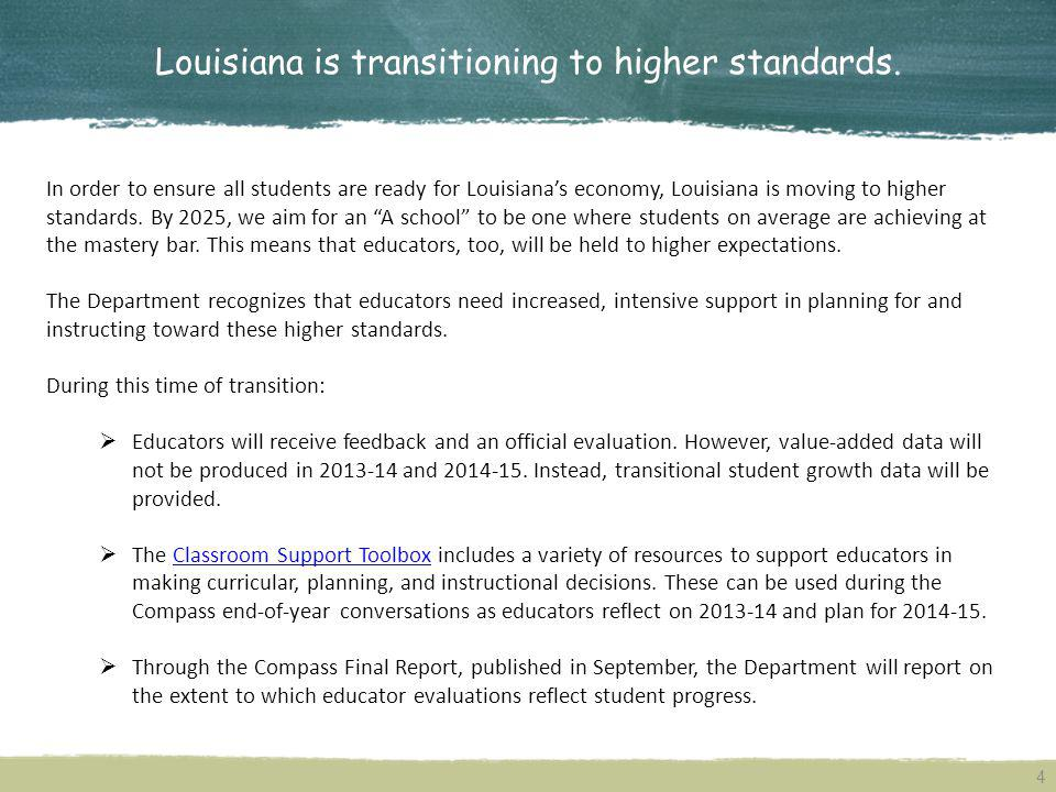 Louisiana is transitioning to higher standards.
