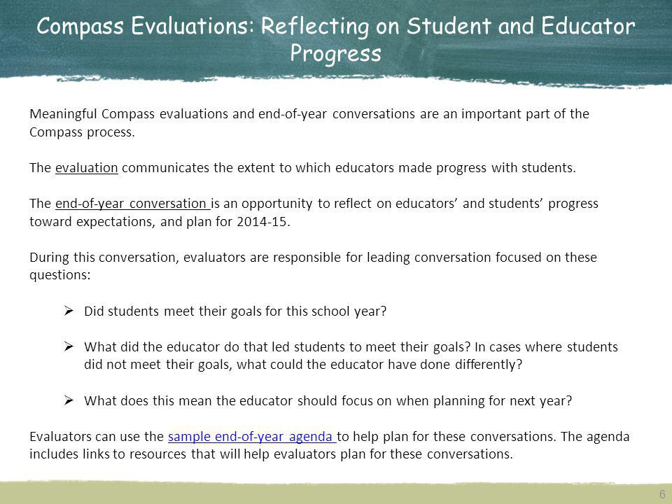 Compass Evaluations: Reflecting on Student and Educator Progress