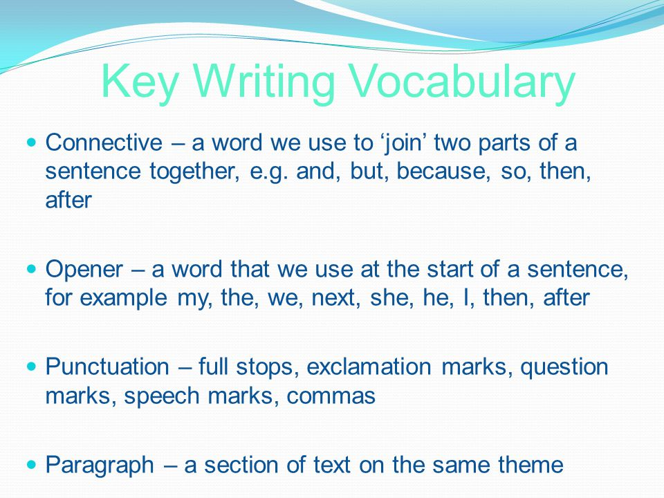 Key Writing Vocabulary