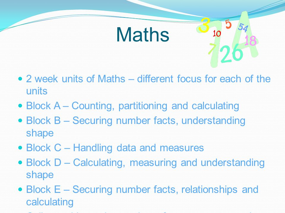 Maths 2 week units of Maths – different focus for each of the units