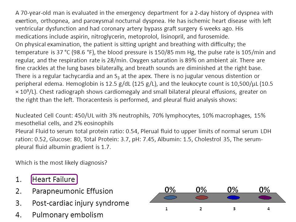 Parapneumonic Effusion Post-cardiac injury syndrome Pulmonary embolism
