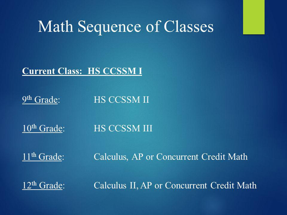 Math Sequence of Classes