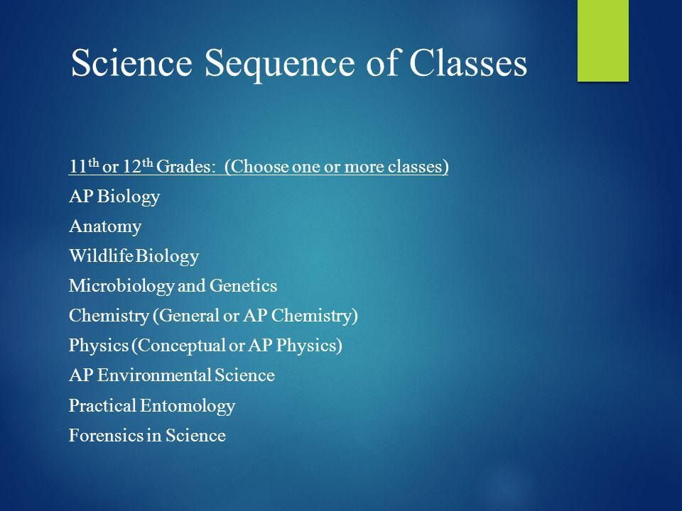 Science Sequence of Classes