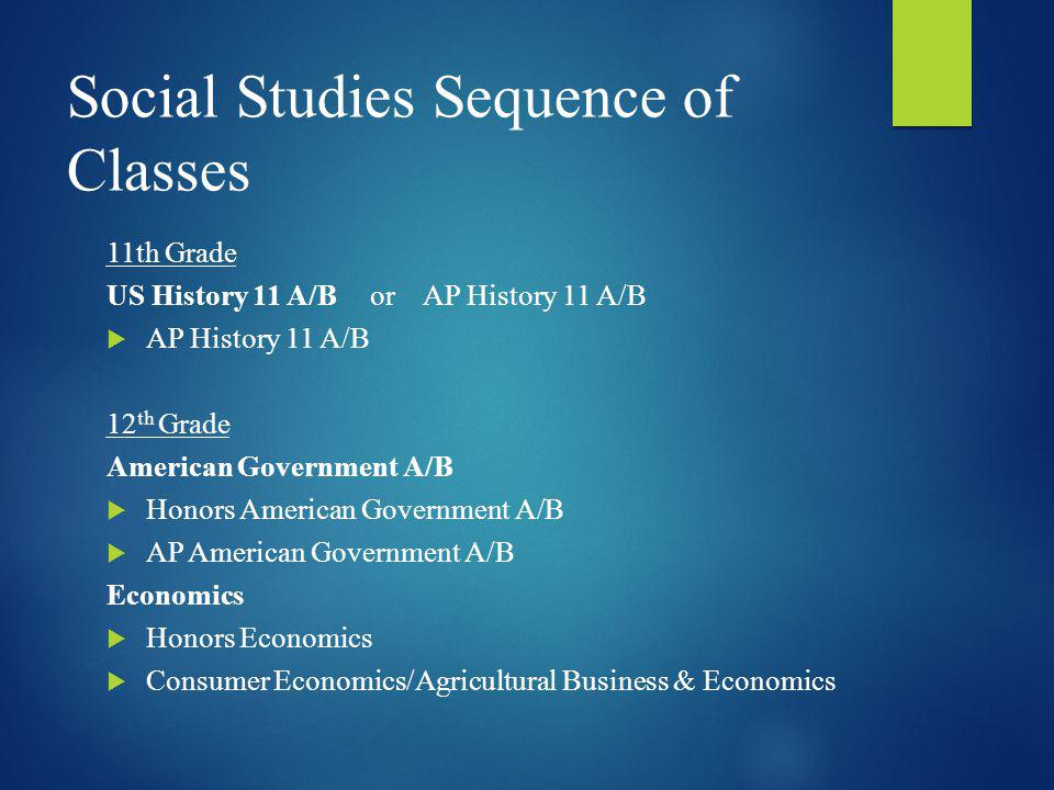 Social Studies Sequence of Classes