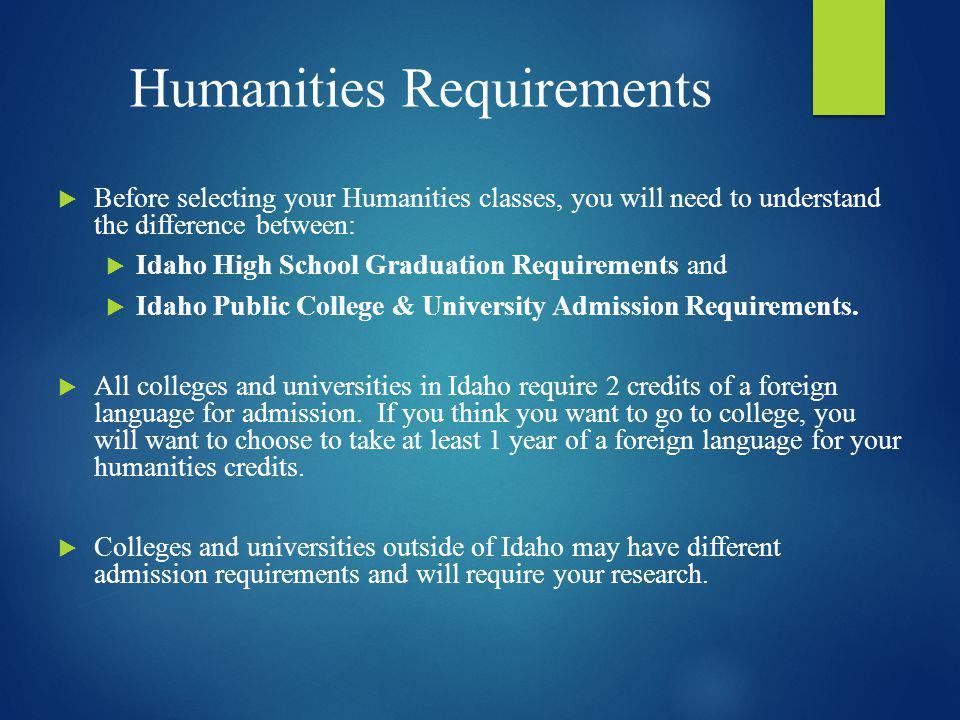 Humanities Requirements
