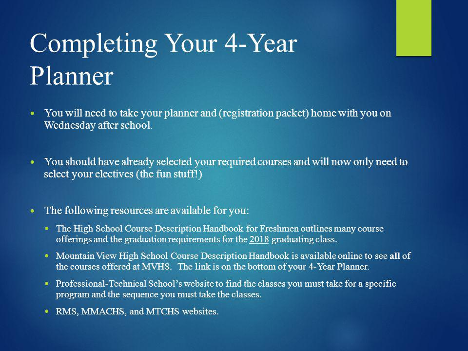 Completing Your 4-Year Planner