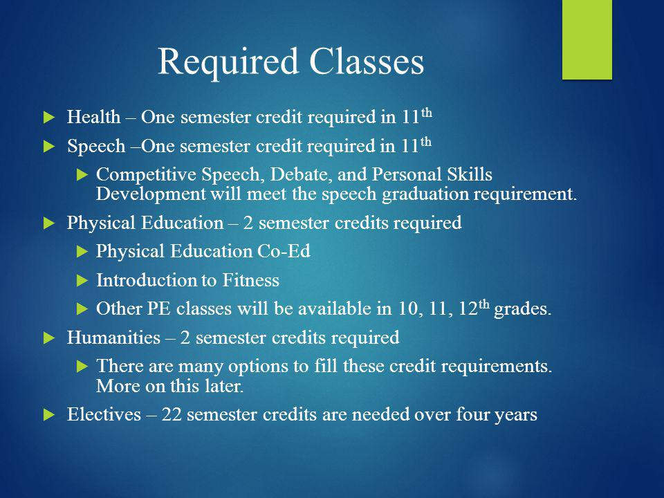 Required Classes Health – One semester credit required in 11th