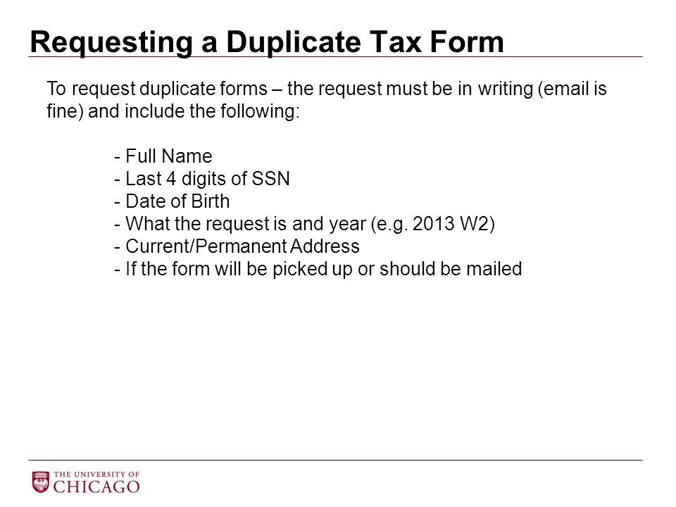 Requesting a Duplicate Tax Form
