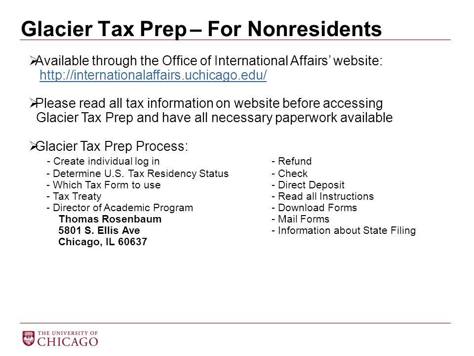 Glacier Tax Prep – For Nonresidents