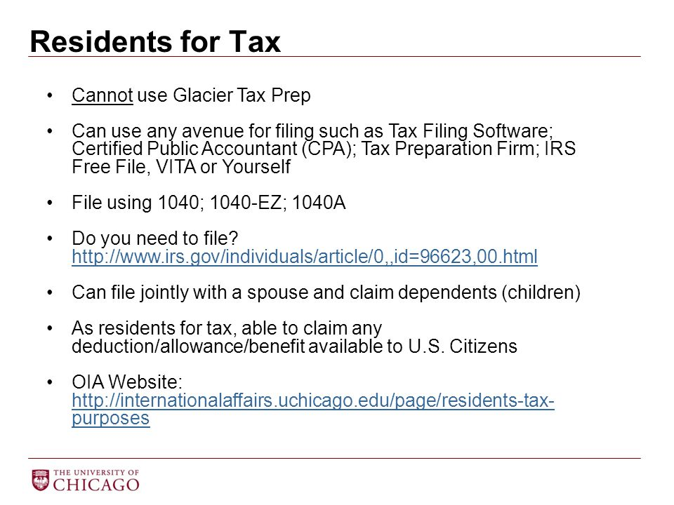 Residents for Tax Cannot use Glacier Tax Prep