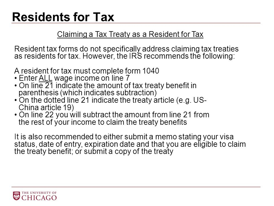 Claiming a Tax Treaty as a Resident for Tax
