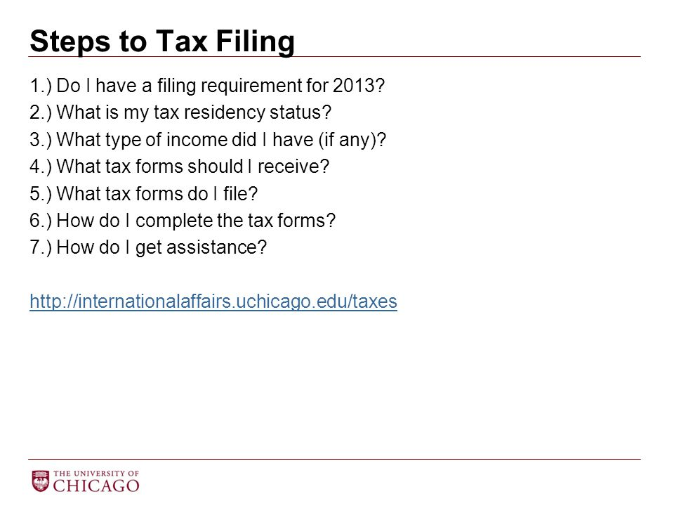 Steps to Tax Filing 1.) Do I have a filing requirement for 2013