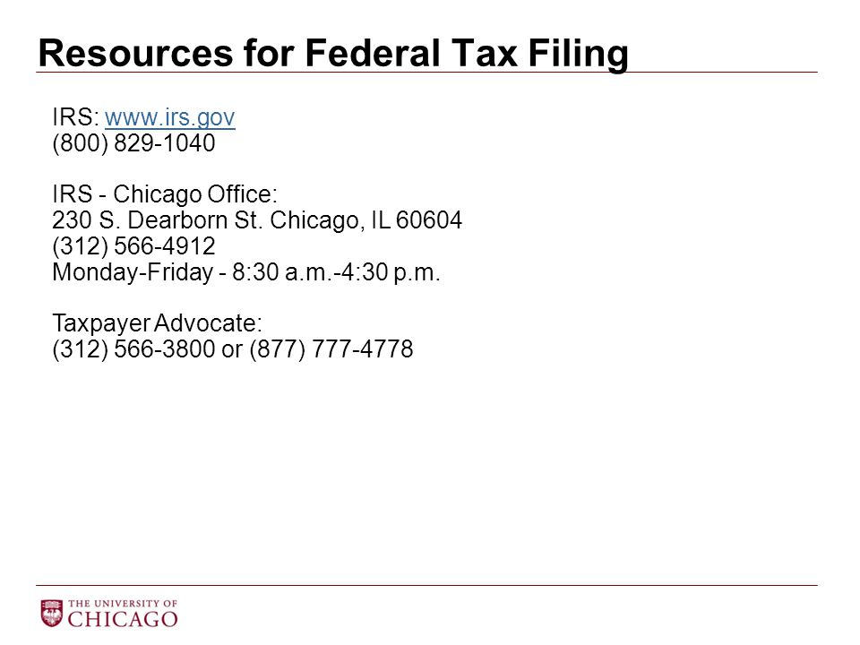 Resources for Federal Tax Filing