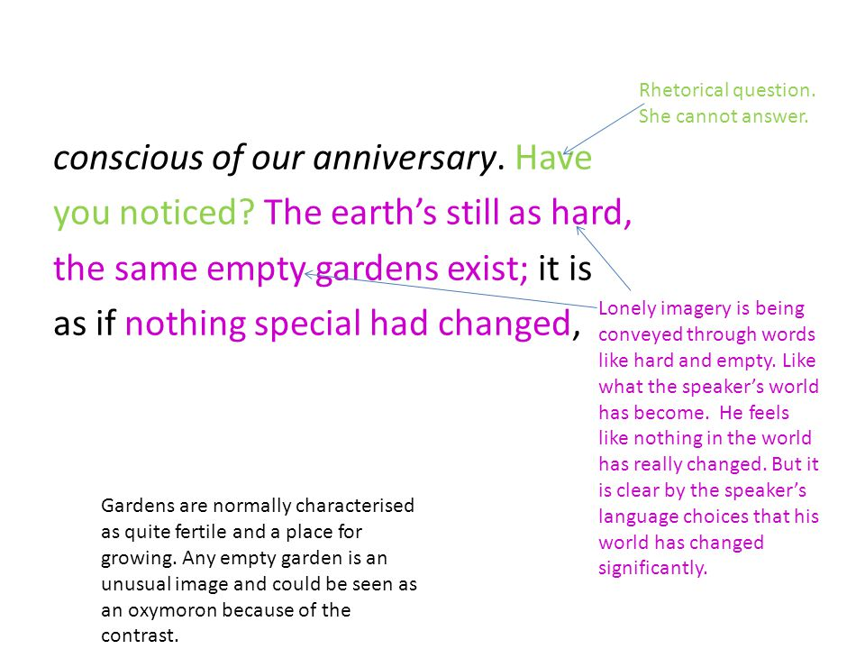 conscious of our anniversary. Have you noticed