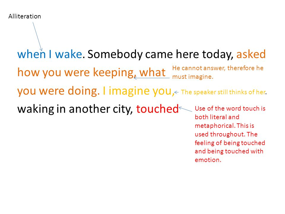 when I wake. Somebody came here today, asked how you were keeping, what you were doing. I imagine you, waking in another city, touched