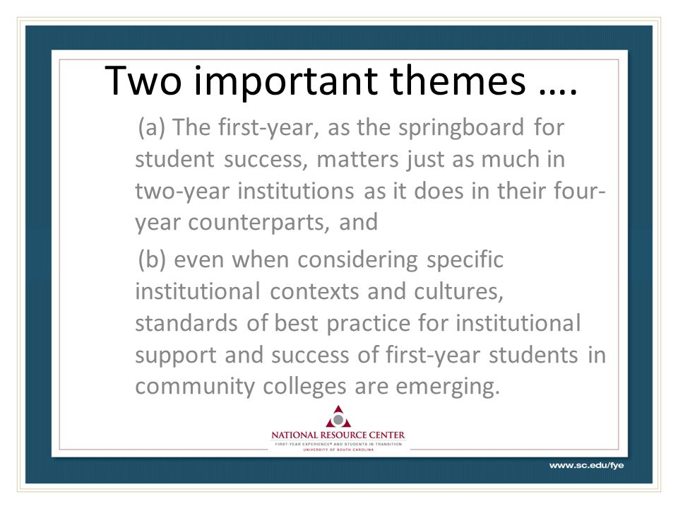 Two important themes ….