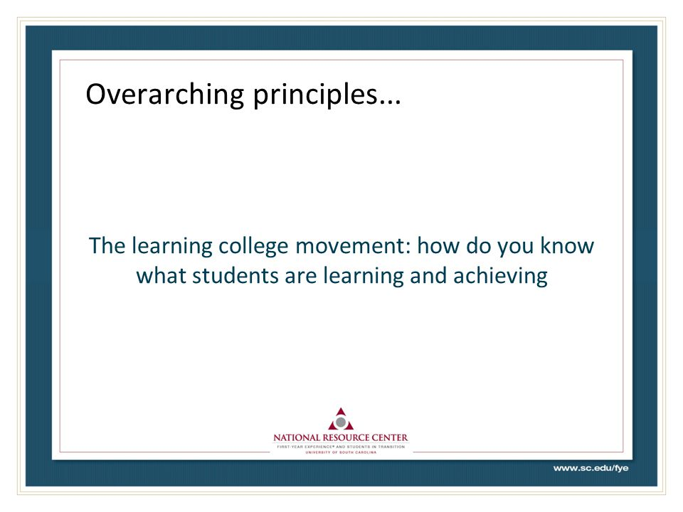Overarching principles...