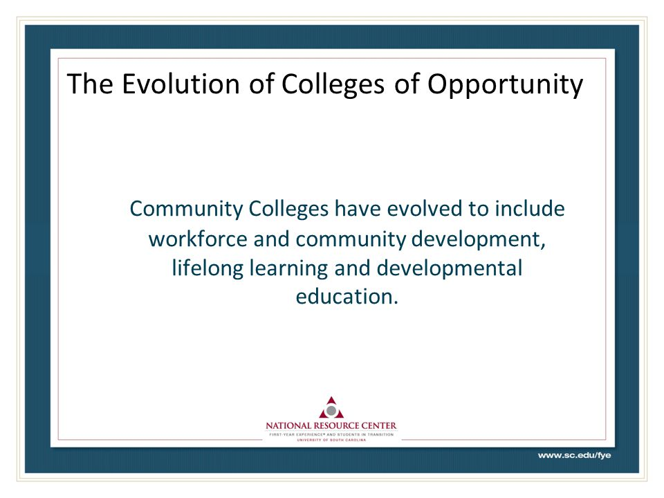 The Evolution of Colleges of Opportunity