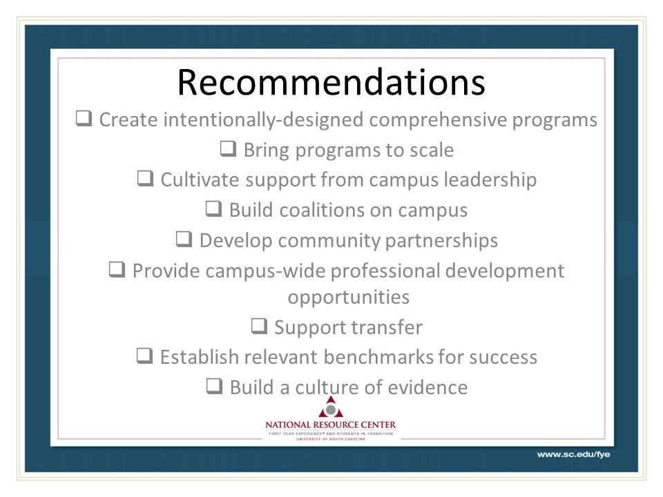 Recommendations Create intentionally-designed comprehensive programs