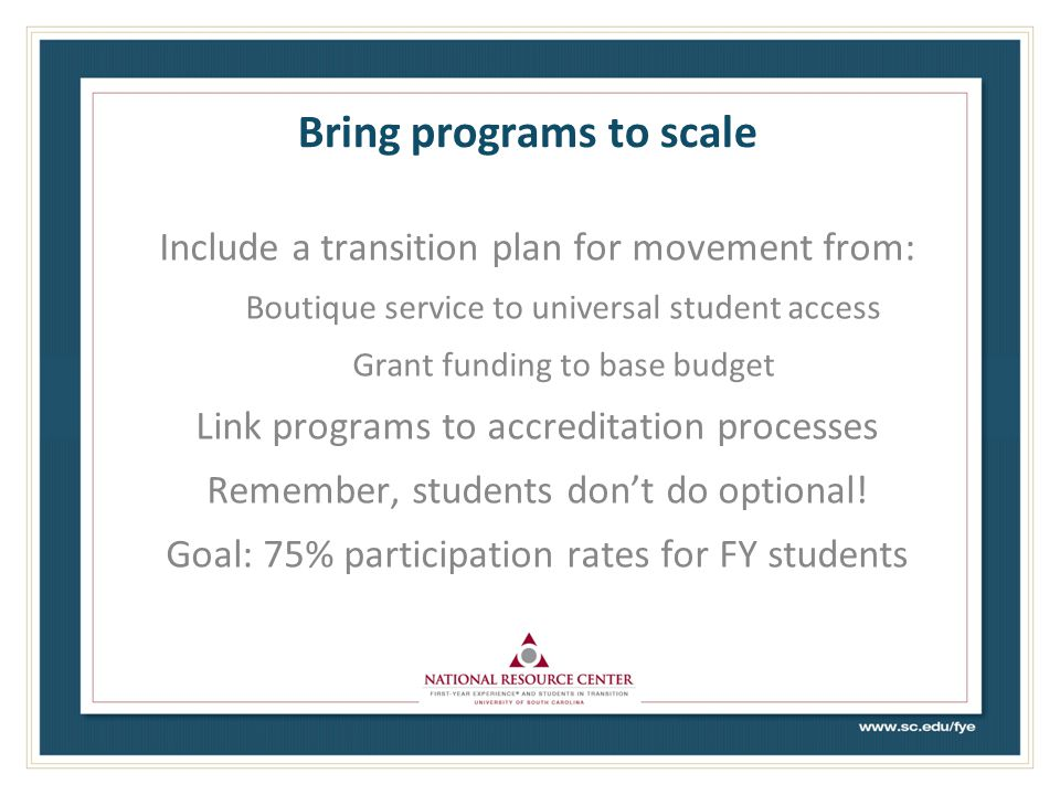 Bring programs to scale