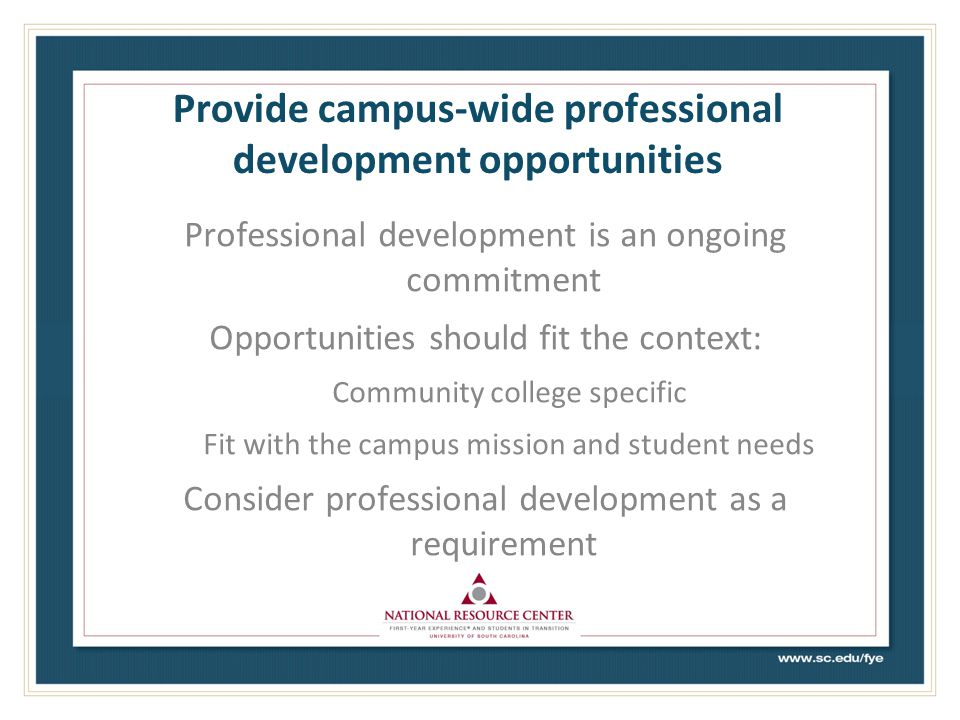 Provide campus-wide professional development opportunities