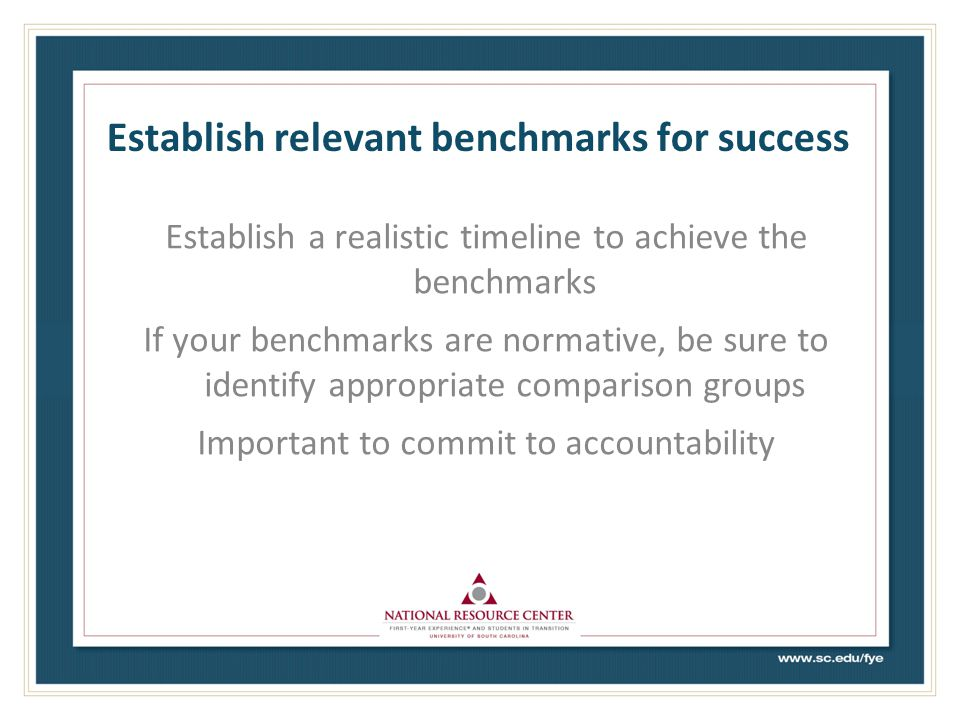 Establish relevant benchmarks for success