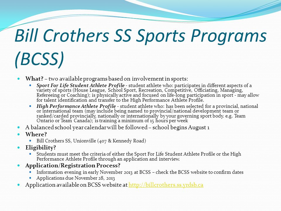 Bill Crothers SS Sports Programs (BCSS)