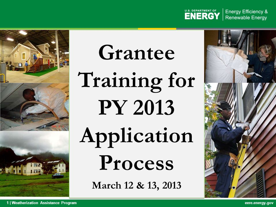 Grantee Training for PY 2013 Application Process