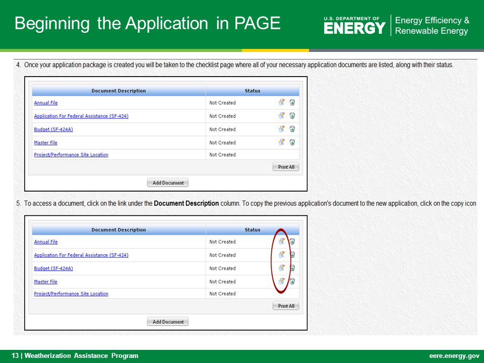 Beginning the Application in PAGE