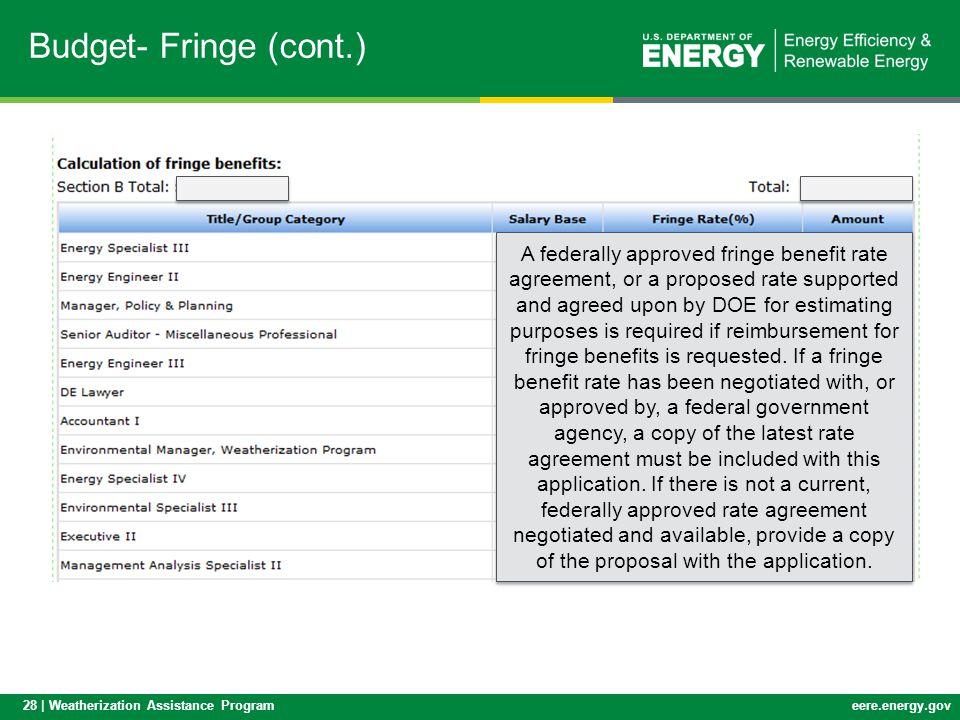 Budget- Fringe (cont.)