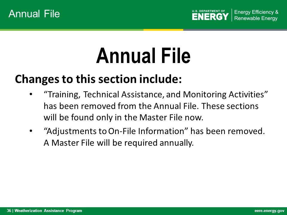 Annual File Changes to this section include: Annual File