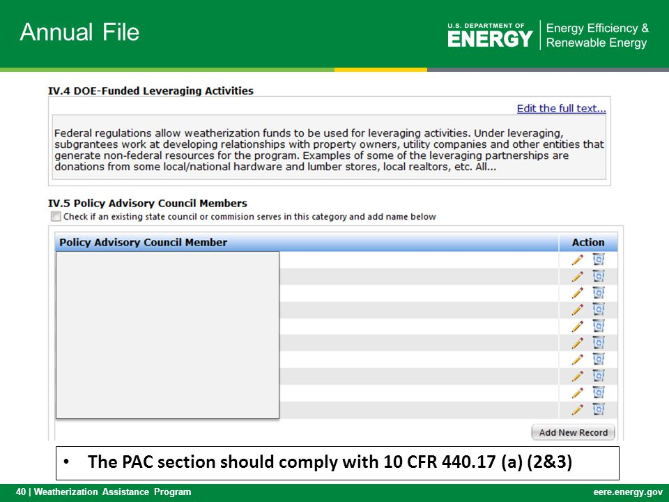 Annual File The PAC section should comply with 10 CFR 440.17 (a) (2&3)
