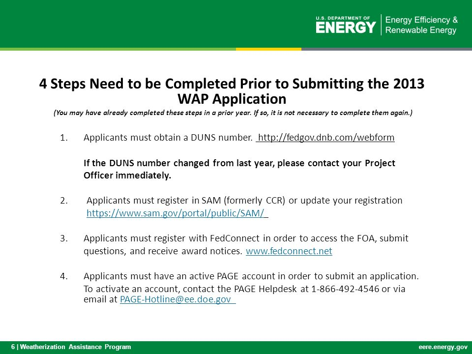 4 Steps Need to be Completed Prior to Submitting the 2013 WAP Application