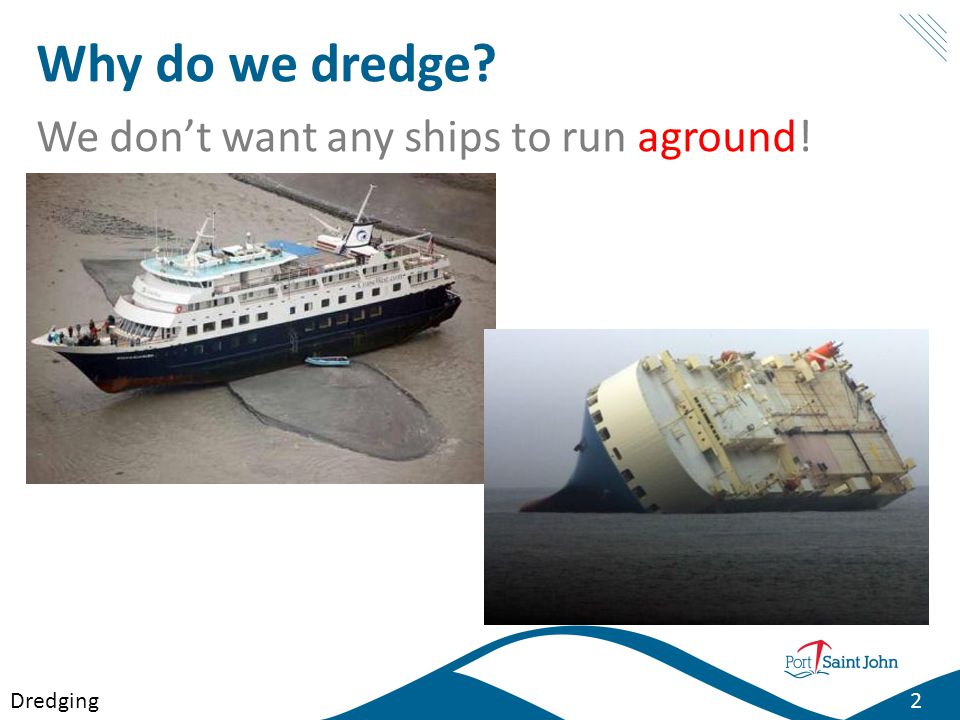 Why do we dredge We don't want any ships to run aground! Dredging