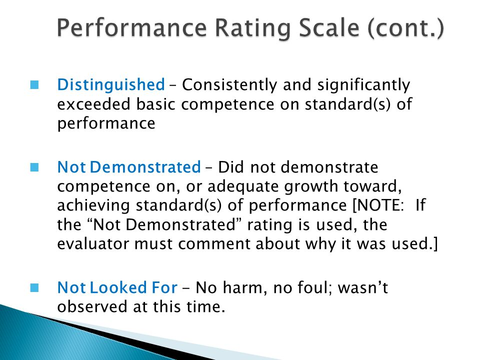 Performance Rating Scale (cont.)
