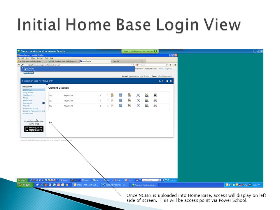 Initial Home Base Login View