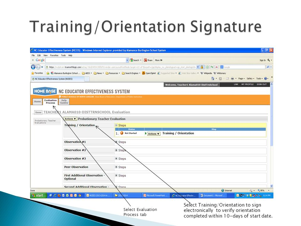 Training/Orientation Signature